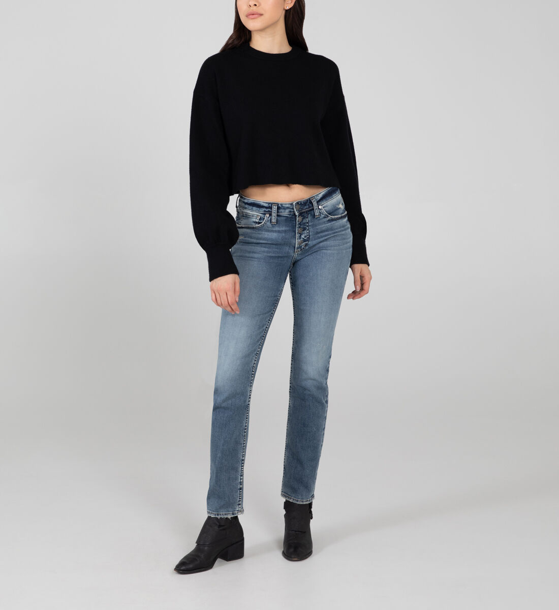 Most Wanted Mid Rise Straight Leg Jeans Front