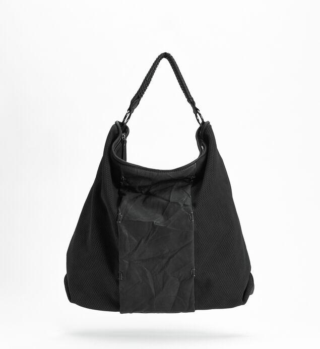 Mixed-Material Hobo Bag, Black, hi-res