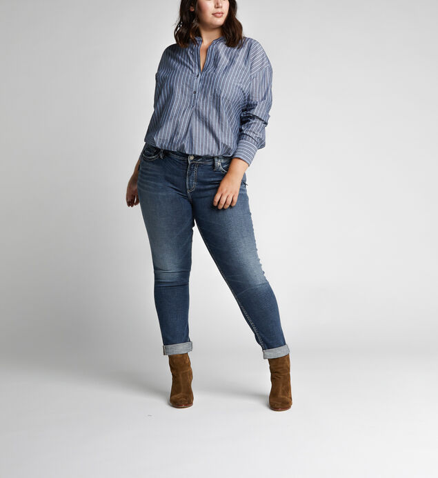 Slim Leg Mid Rise Boyfriend Dark Wash