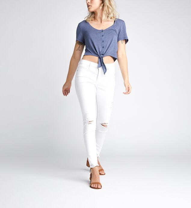 Amelia Tie-Front Crop Top, Blue, hi-res