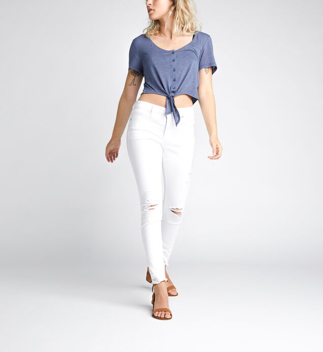 Amelia Tie-Front Crop Top, Blue, hi-res