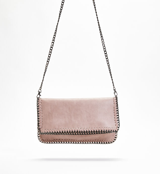Chain-Trim Crossbody Clutch