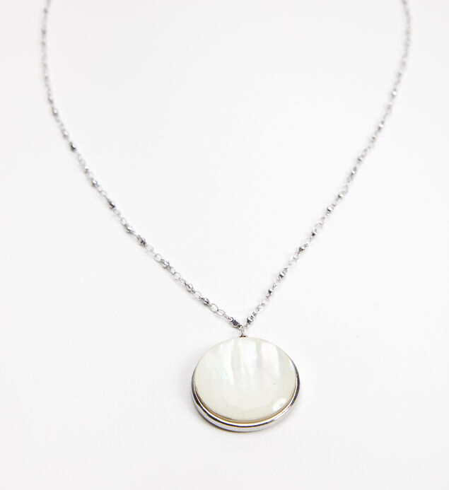 Silver-Tone Long Stone Pendant Necklace, , hi-res