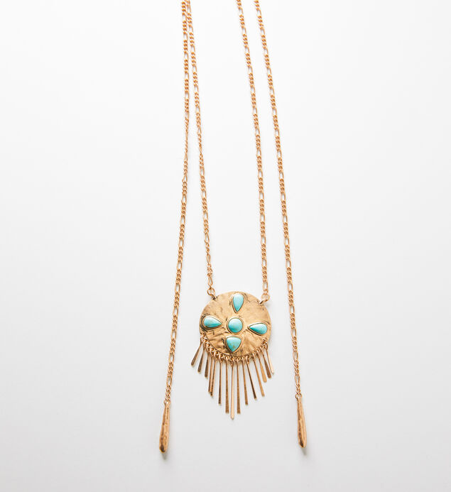 Gold-Tone Turquoise Fringe Pendant Necklace, , hi-res