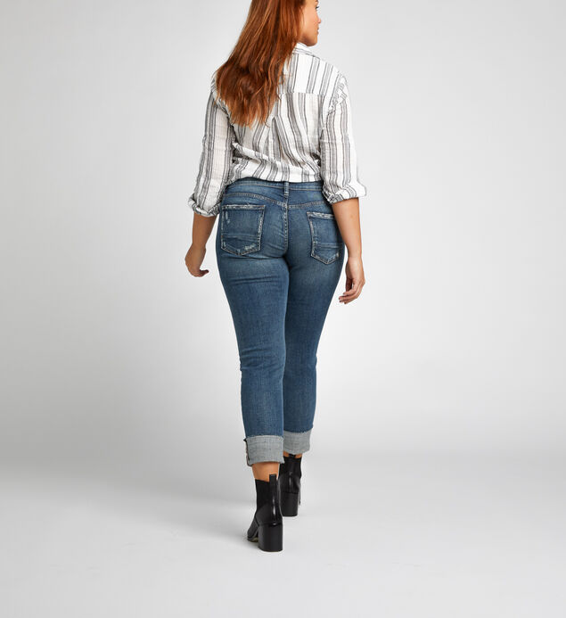 Boyfriend Slim Mid Rise Dark Wash, , hi-res