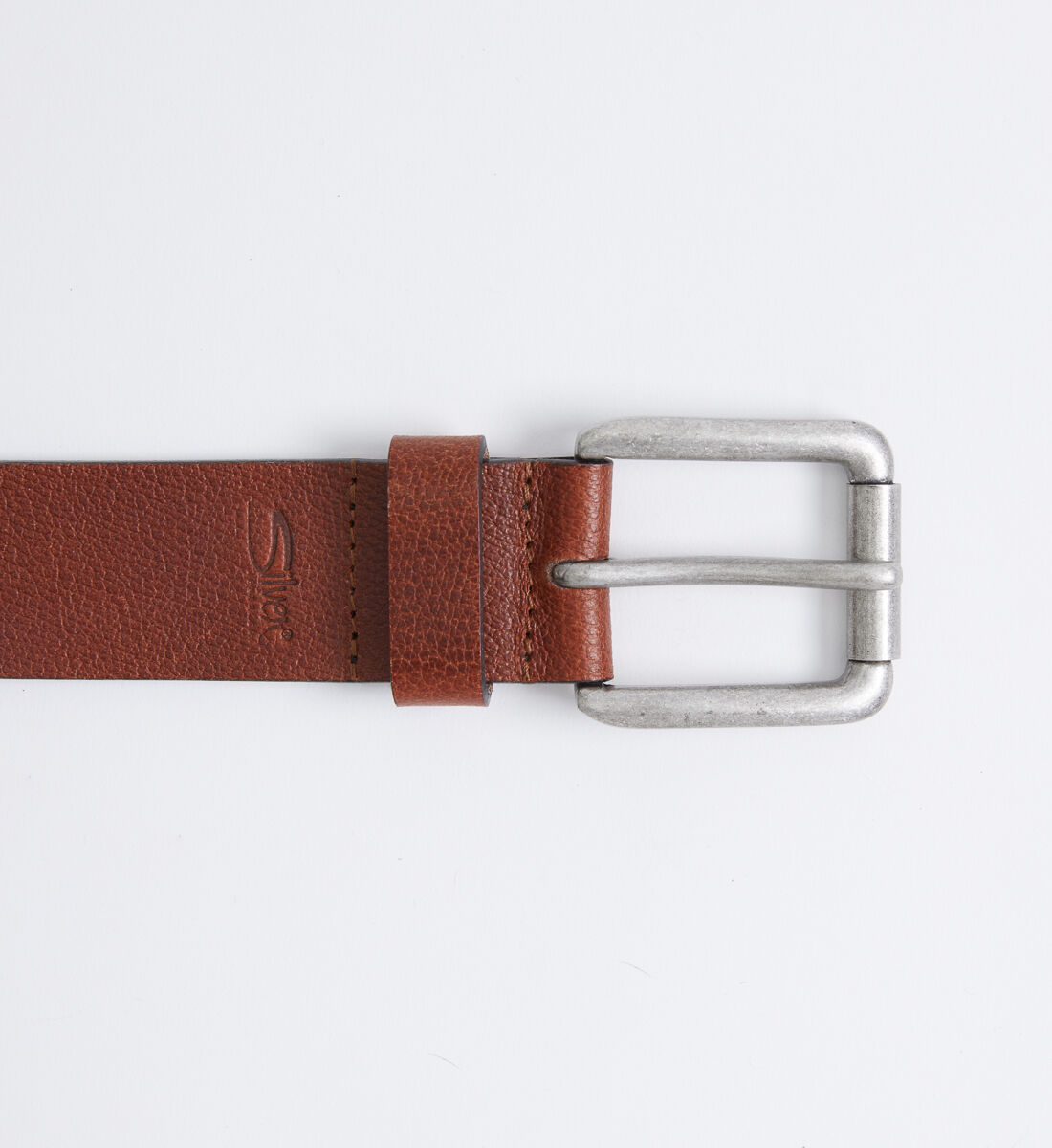 Pebbled Brown Leather Mens Belt Front