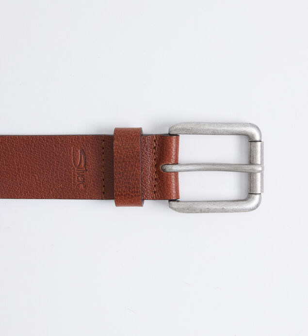 Pebbled Brown Leather Mens Belt