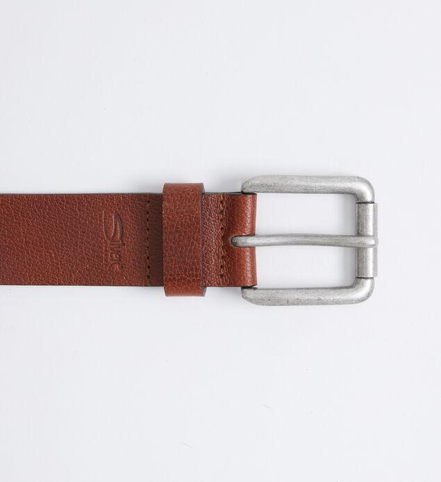 Pebbled Brown Leather Mens Belt