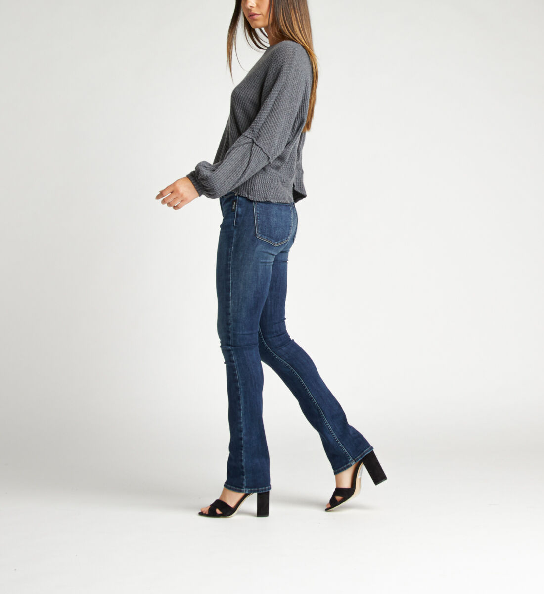Most Wanted Mid Rise Skinny Bootcut Jeans Side