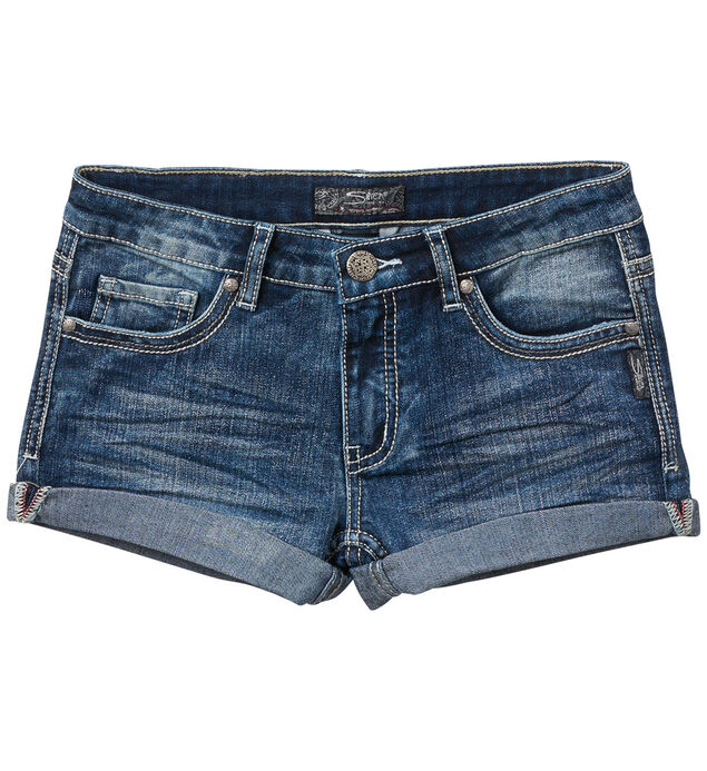 Lacy Cuffed Denim Shorts in Medium Wash (7-16)