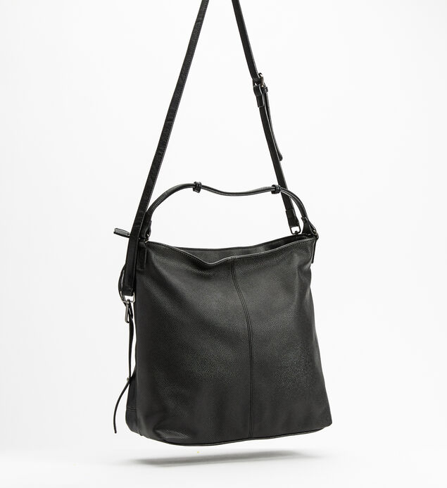 Large Embossed Hobo, Black, hi-res