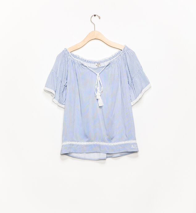Short-Sleeve Tie-Neck Blouse (7-16)