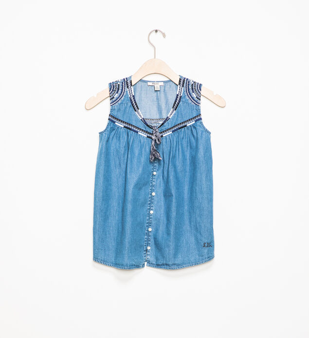 Sleeveless Embroidered Chambray Top (7-16)