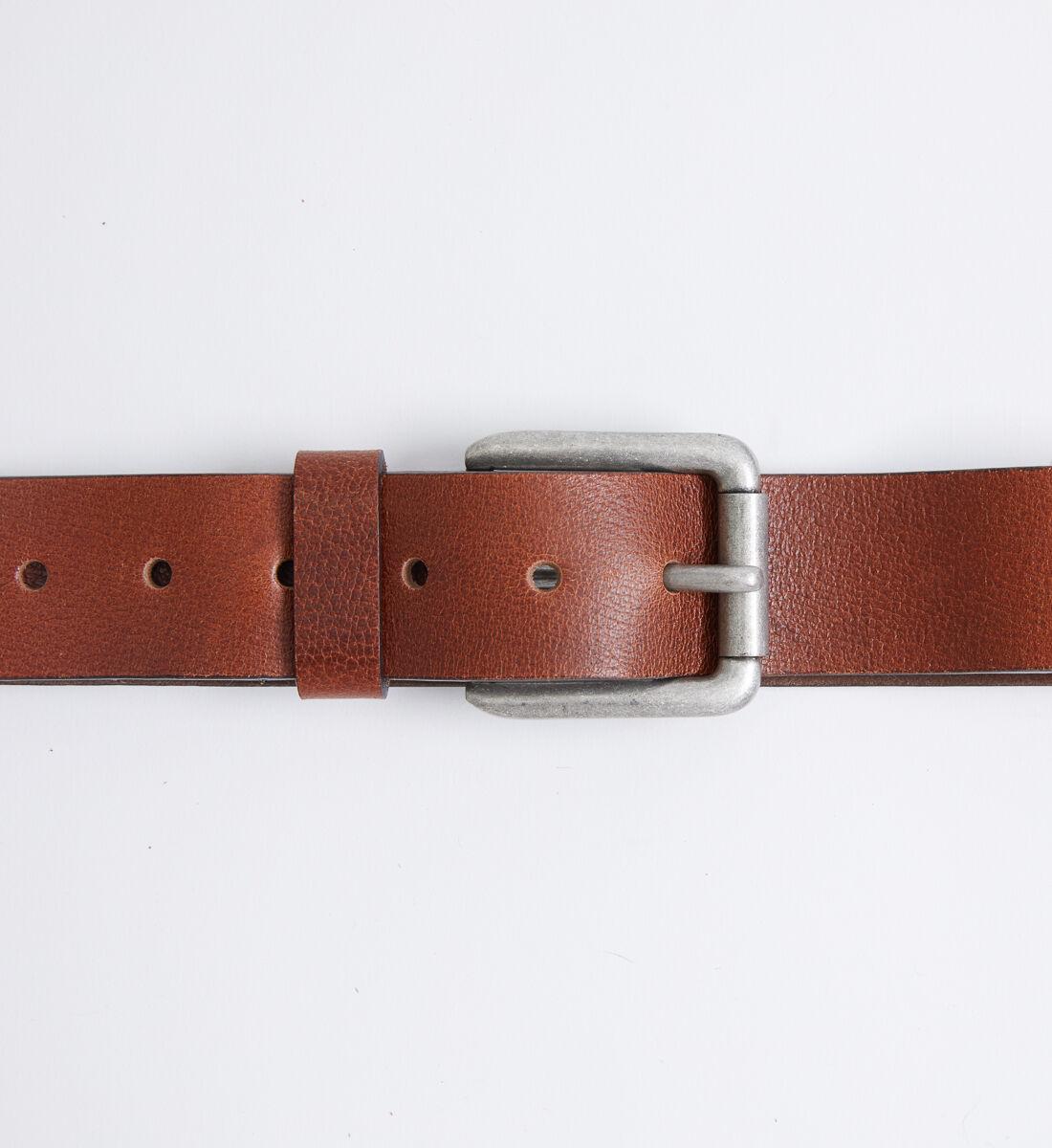 Pebbled Brown Leather Mens Belt Alt Image 1