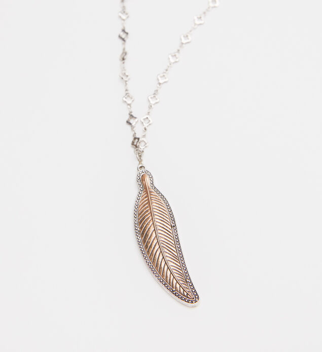 Silver-Tone Long Feather Necklace, , hi-res