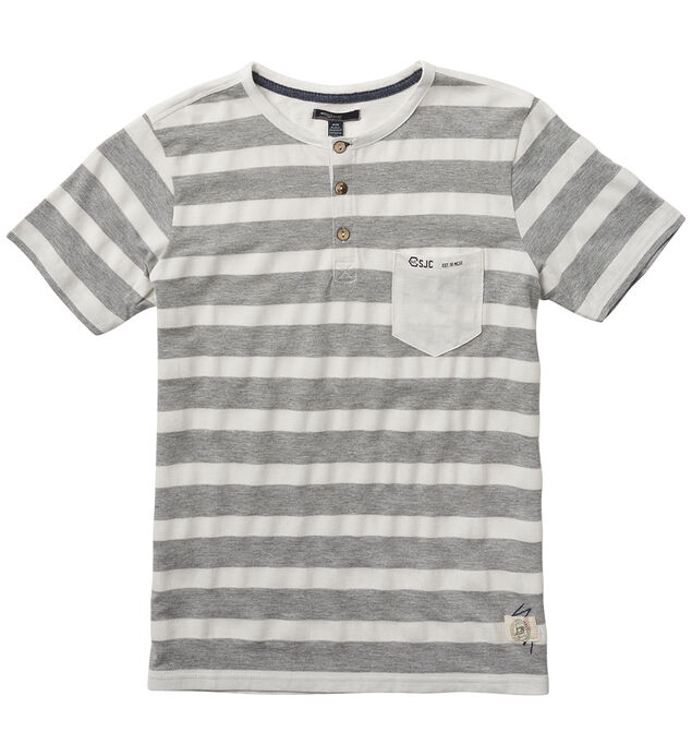 Short-Sleeve Striped Henley Tee (4-7)