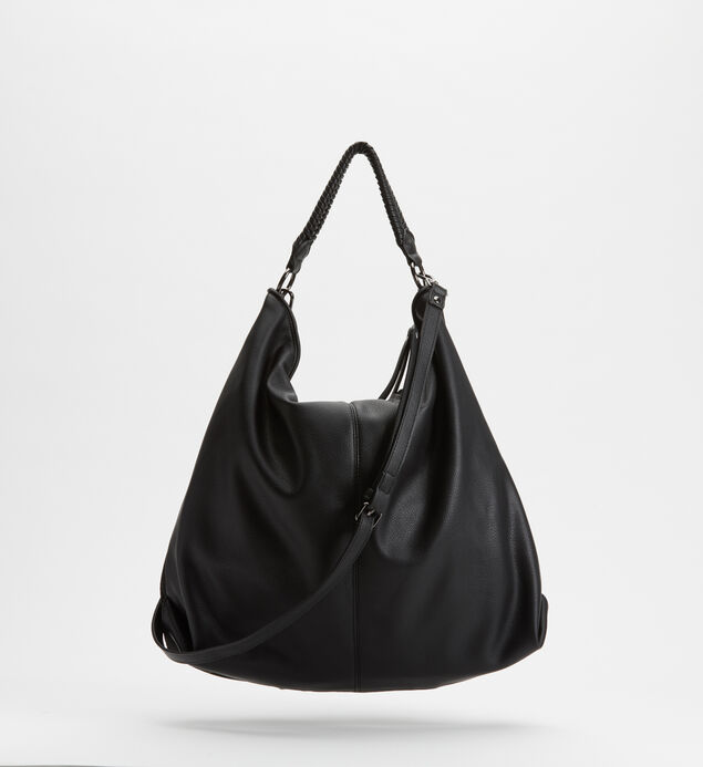 Mixed-Material Hobo Bag