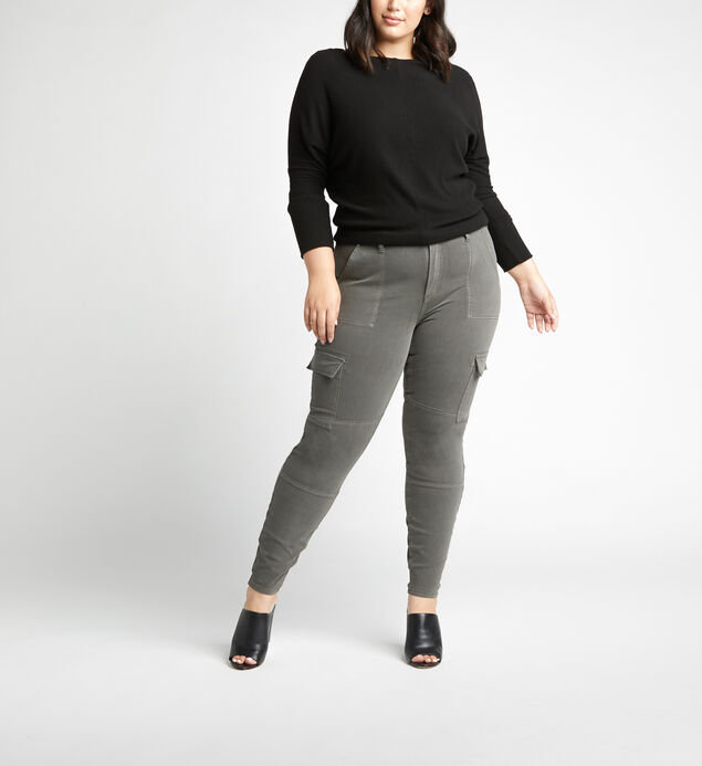 Cargo Mid Rise Skinny Leg Jeans Plus Size