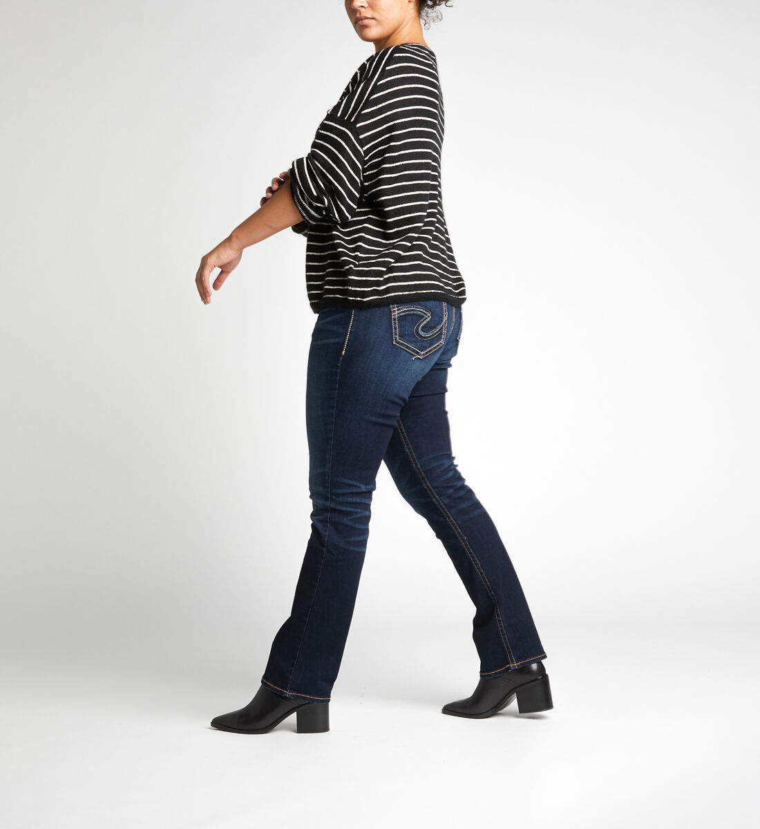 Suki Mid Rise Straight Leg Jeans Plus Size Side