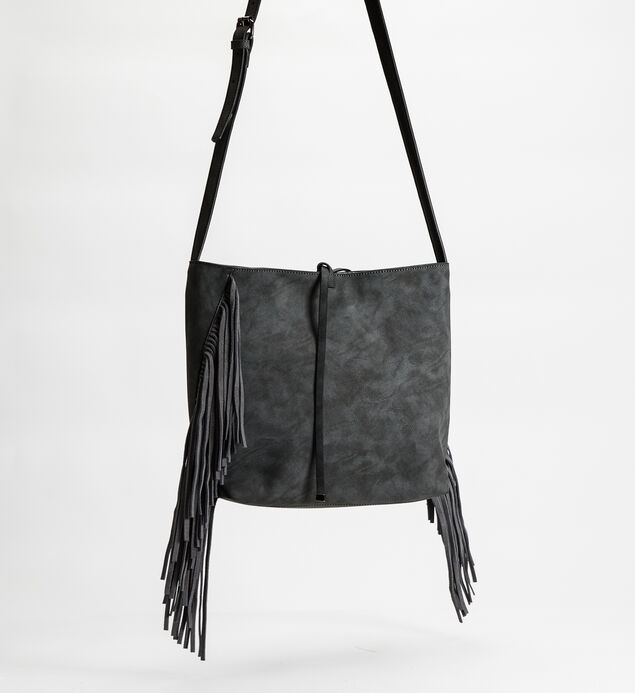 Large Fringe Crossbody, Grey, hi-res