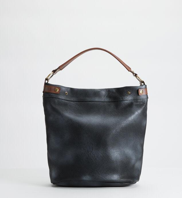 Vintage Style Pieced Hobo, Black, hi-res