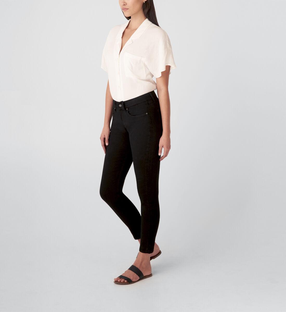 Suki Mid Rise Skinny Jeans,Black Side