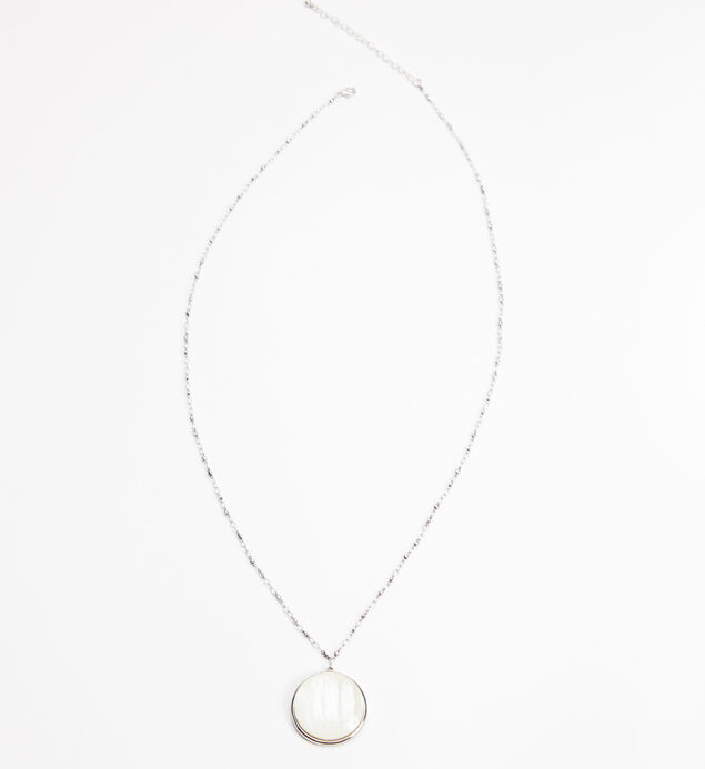 Silver-Tone Long Stone Pendant Necklace