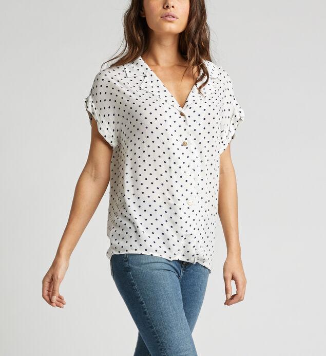 Alisha Rolled-Sleeve Polka Dot Shirt
