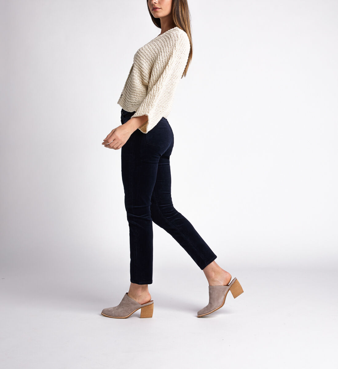 High Note High Rise Slim Leg Pants,Navy Side