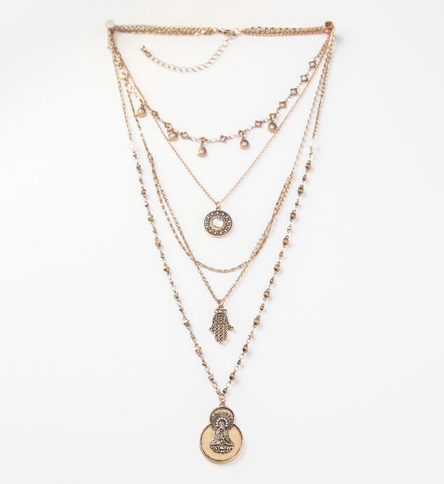 Gold-Tone Layered Hamsa Necklace