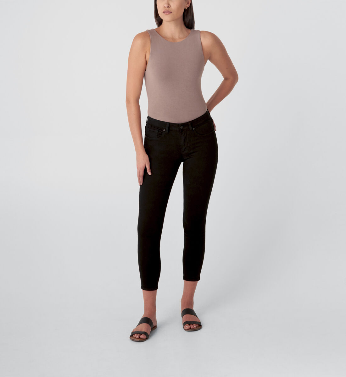 Most Wanted Mid Rise Skinny Jeans,Black Front