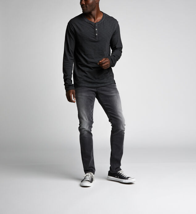 Koby Long-Sleeve Slub Henley, Black, hi-res