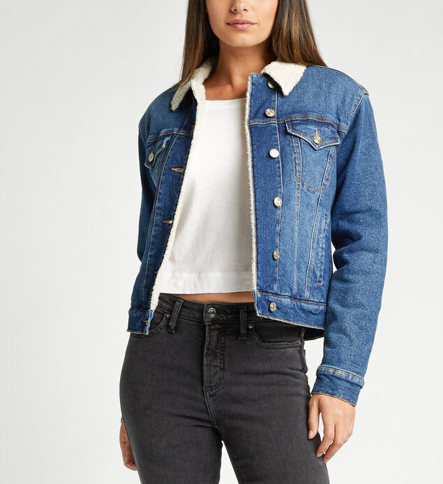 Selena Sherpa Denim Jacket In Indigo