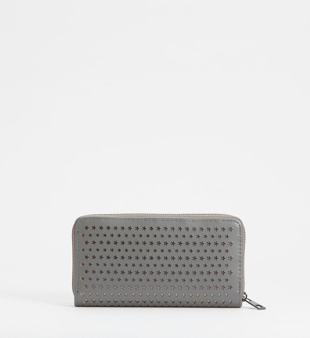 Zip-Around Laser-Cut Star Wallet, Grey, hi-res