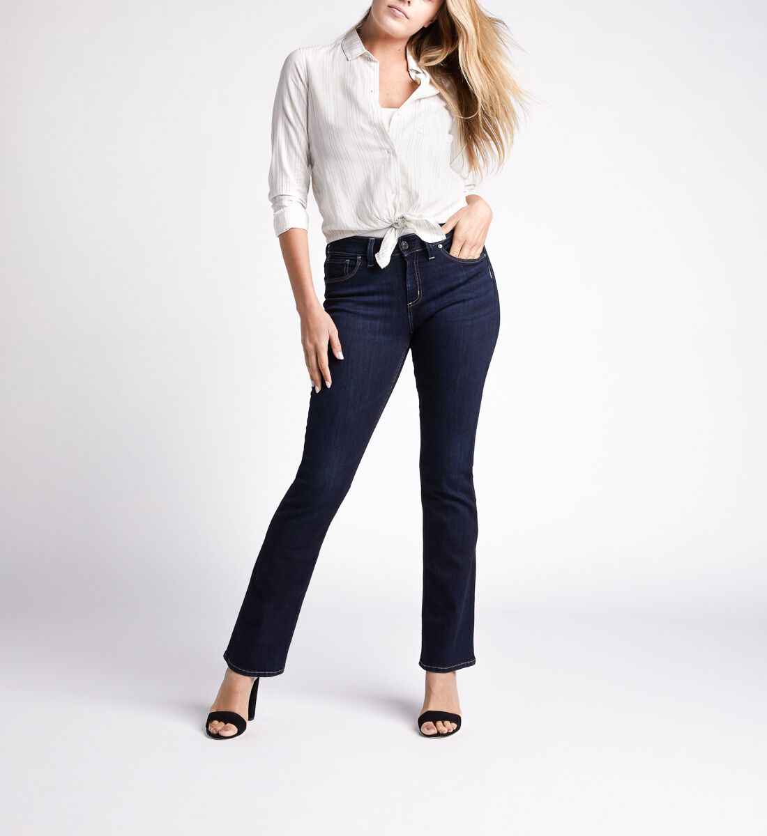 Avery High Rise Slim Bootcut Jeans,Indigo Front