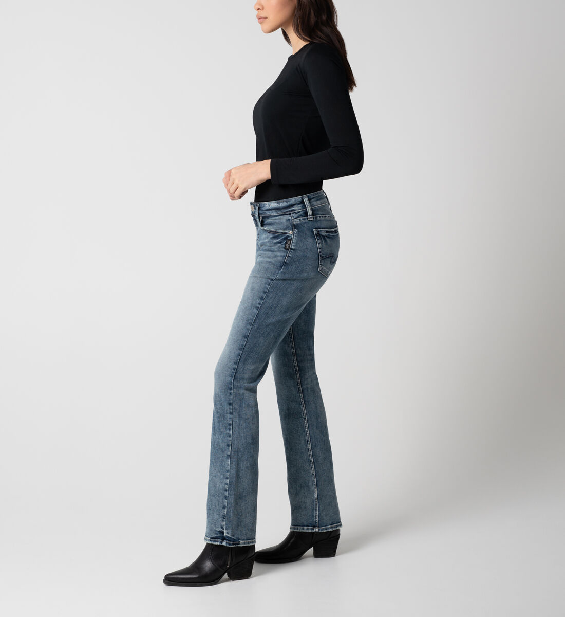 Elyse Mid Rise Slim Bootcut Jeans Side