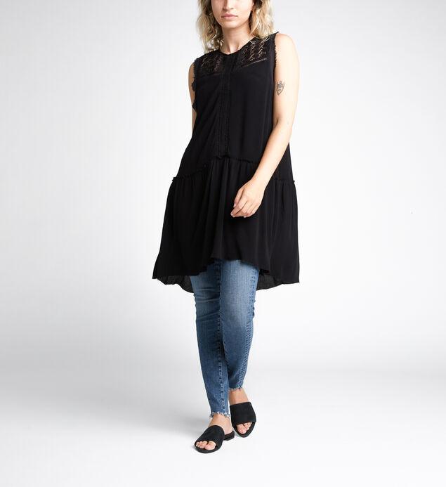 Sina Lace-Front Babydoll Tunic, Black, hi-res