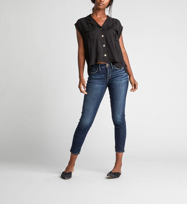 Salem Utility Crop Button-Down Shirt, Black, hi-res