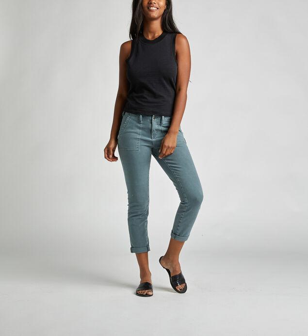 Utility Crop Mid Rise Slim Leg Pants