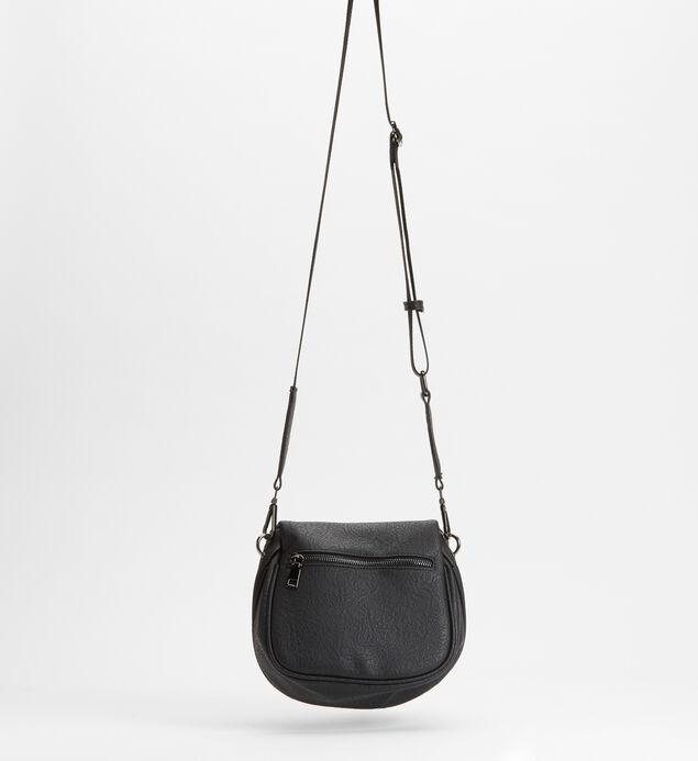 Zip Saddle Bag, Black, hi-res
