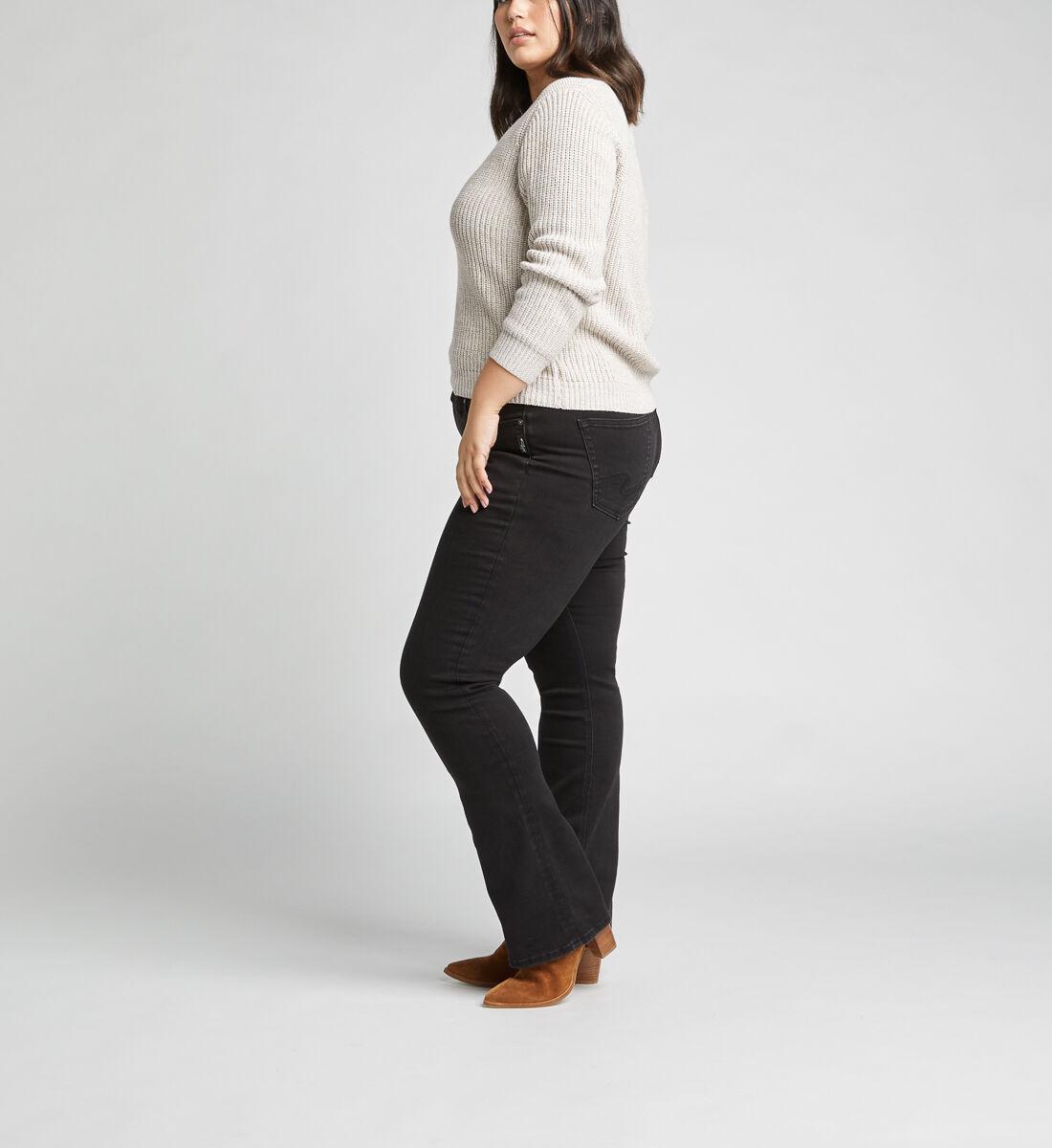 Suki Mid Rise Slim Bootcut Jeans Plus Size,Black Side