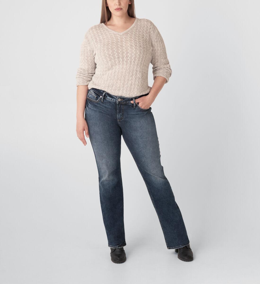 Elyse Mid Rise Slim Bootcut Jeans Plus Size Front