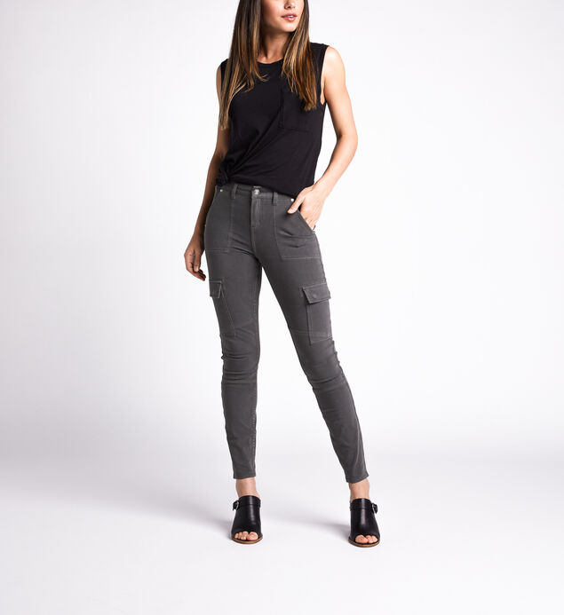 Cargo Mid Rise Skinny Leg Jeans