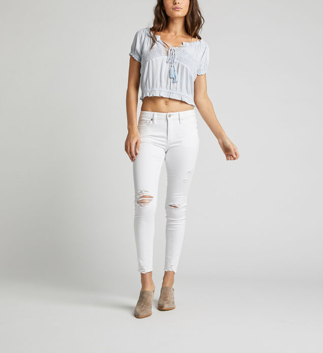 Stacey Off-The-Shoulder Crop Top, Blue, hi-res