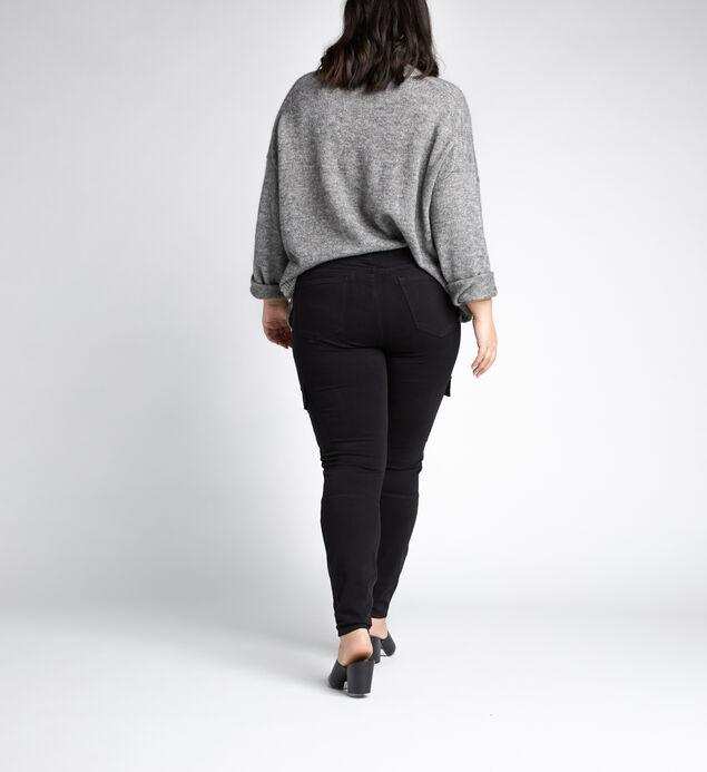 Cargo Mid Rise Skinny Leg Jeans Plus Size, Black, hi-res