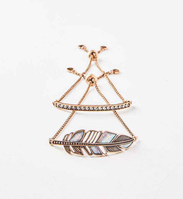 Gold-Tone Feather Bracelet Set, , hi-res
