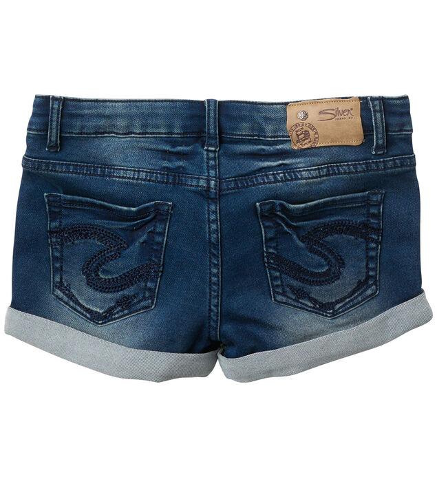 Lacy Knit Denim Shorts in Dark Wash (7-16), , hi-res