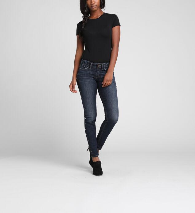 Suki Mid-Rise Curvy Studded Skinny Jeans