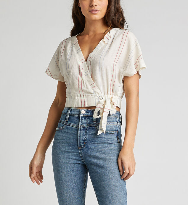 Shyla Striped Wrap Crop Top