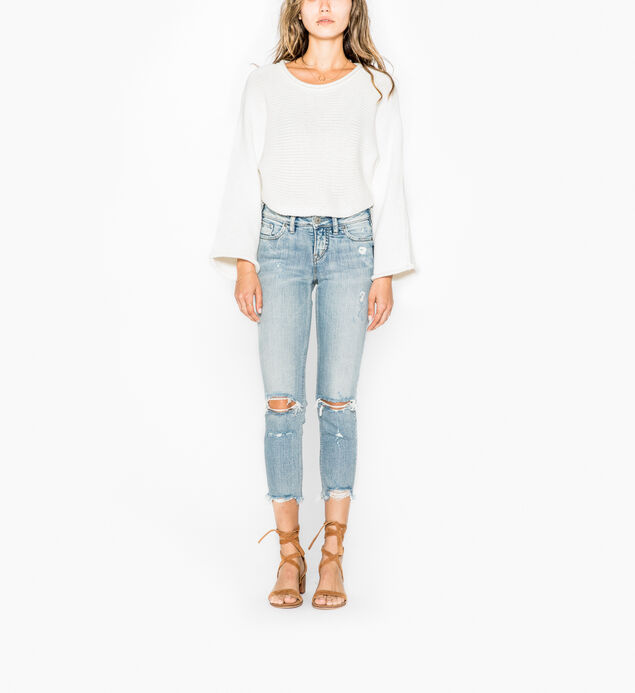 Aiko Slim Crop Light Wash